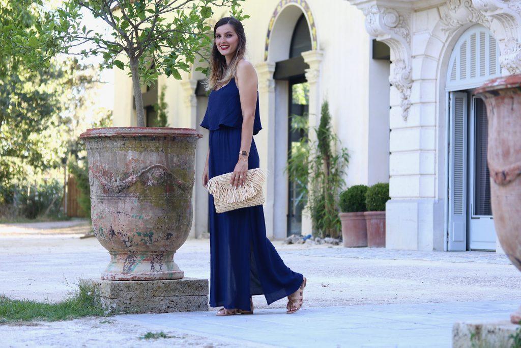 blog mode robe longue bleue
